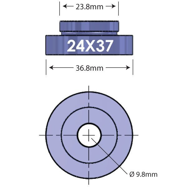 2437 Open Bore Adapter Diagram - Bicycle Parts Direct