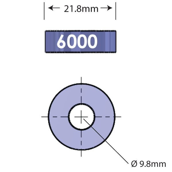 6000 Open Bore Adapter Diagram - Bicycle Parts Direct
