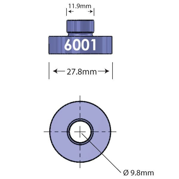 6001 Open Bore Adapter Diagram - Bicycle Parts Direct