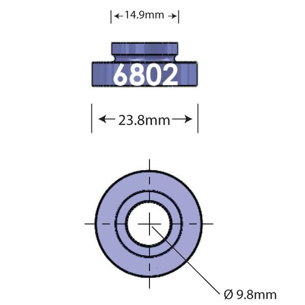 6802 Open Bore Adapter Diagram - Bicycle Parts Direct