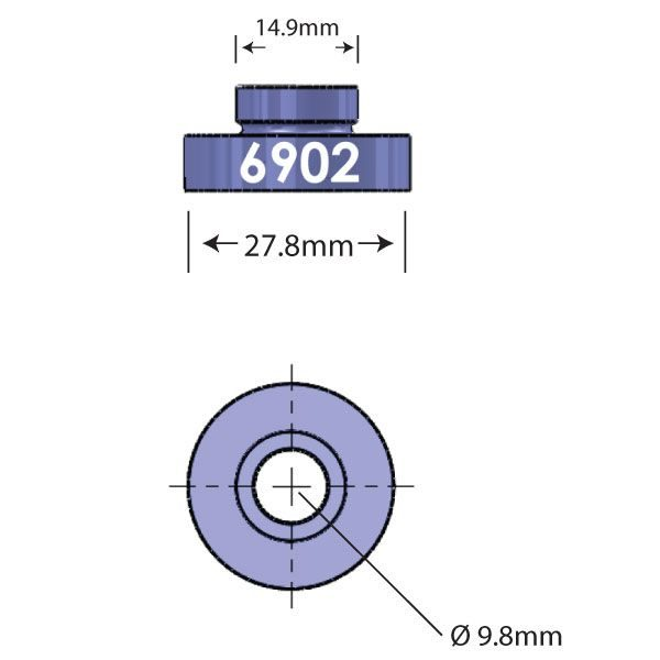 6902 Open Bore Adapter Diagram - Bicycle Parts Direct