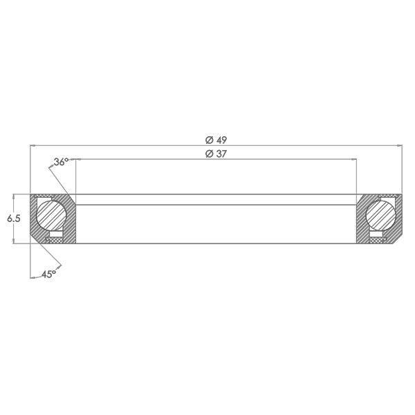 "1-3/8"" Angular Contact Bearing for Internal Headset Diagram - Bicycle Parts Direct"