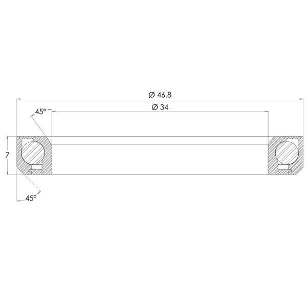 "1-1/4"" Angular Contact Bearing Diagram - Bicycle Parts Direct"