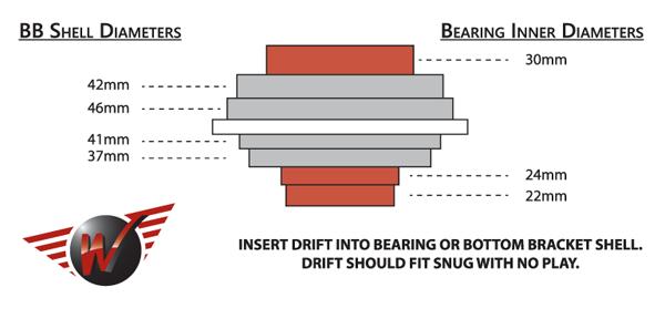 Universal Bottom Bracket Drift Reference Chart - Bicycle Parts Direct