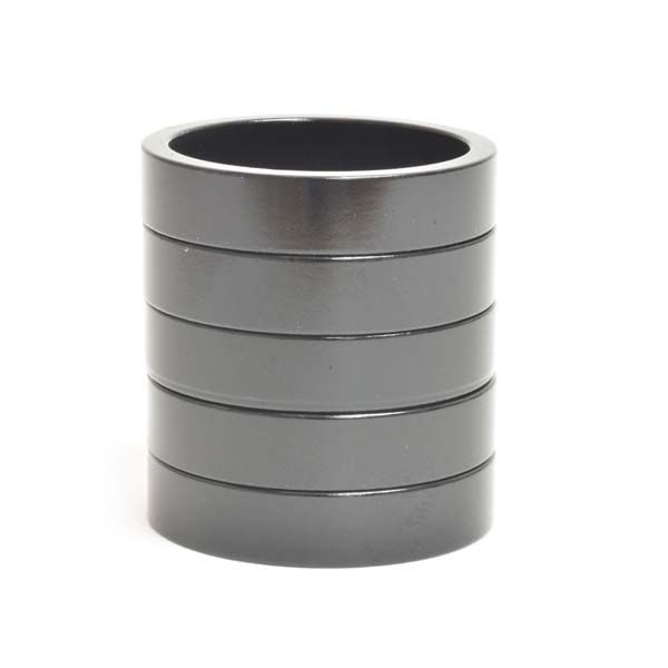 """1-1/8"""" x 7.5mm Black Aluminum Headset Spacers - Bicycle Parts Direct"""