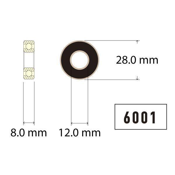 6001 Bearing Diagram - Bicycle Parts Direct