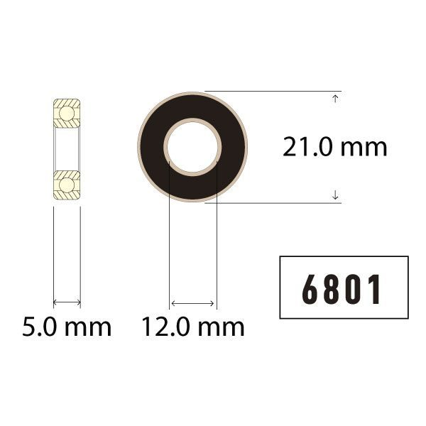 6801 Bearing Diagram - Bicycle Parts Direct