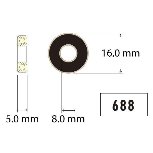 688 ZERØ Ceramic Sealed Bearing Diagram - Bicycle Parts Direct